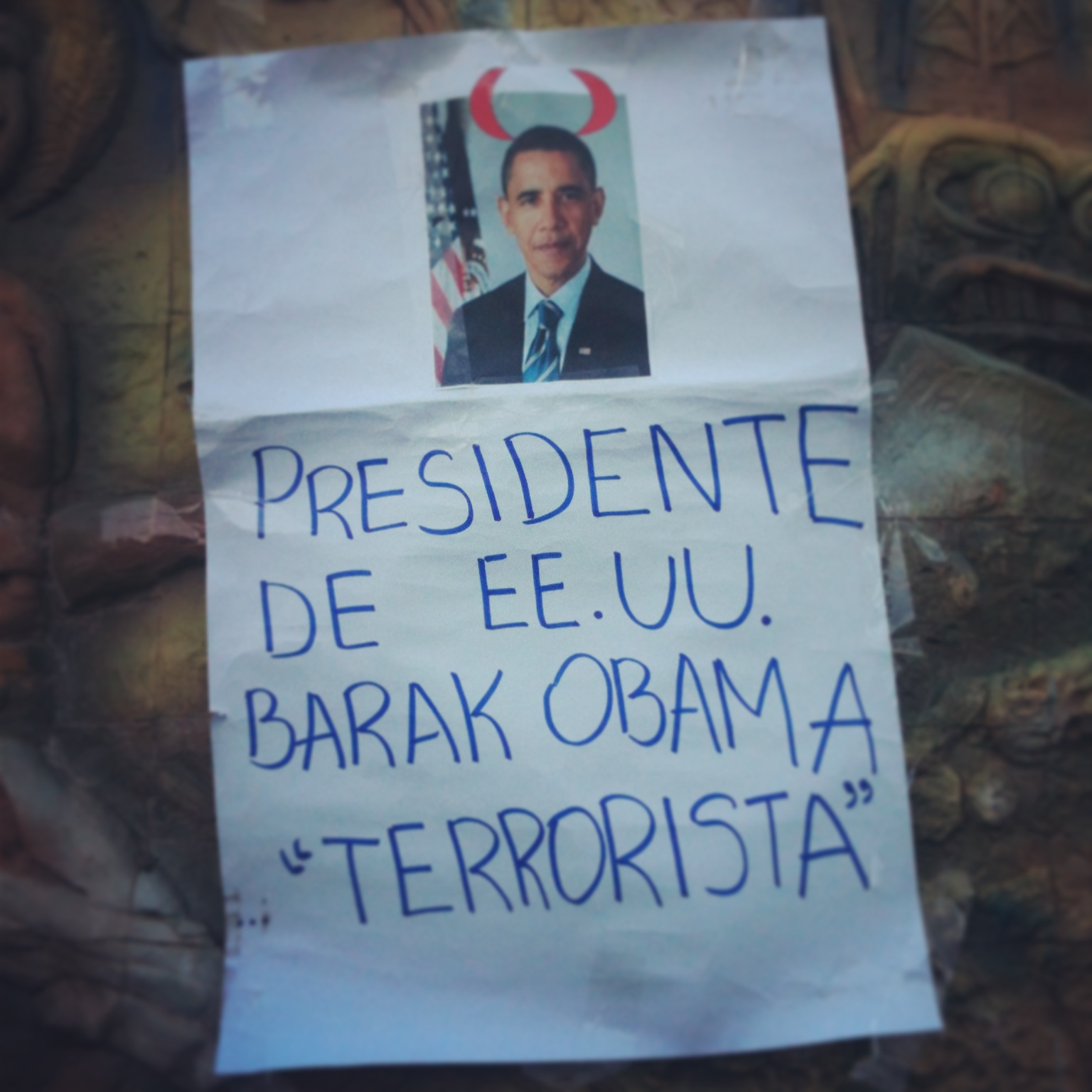 Anti-Obama banner in Montero, Bolivia (Photo by Frederick Bernas)