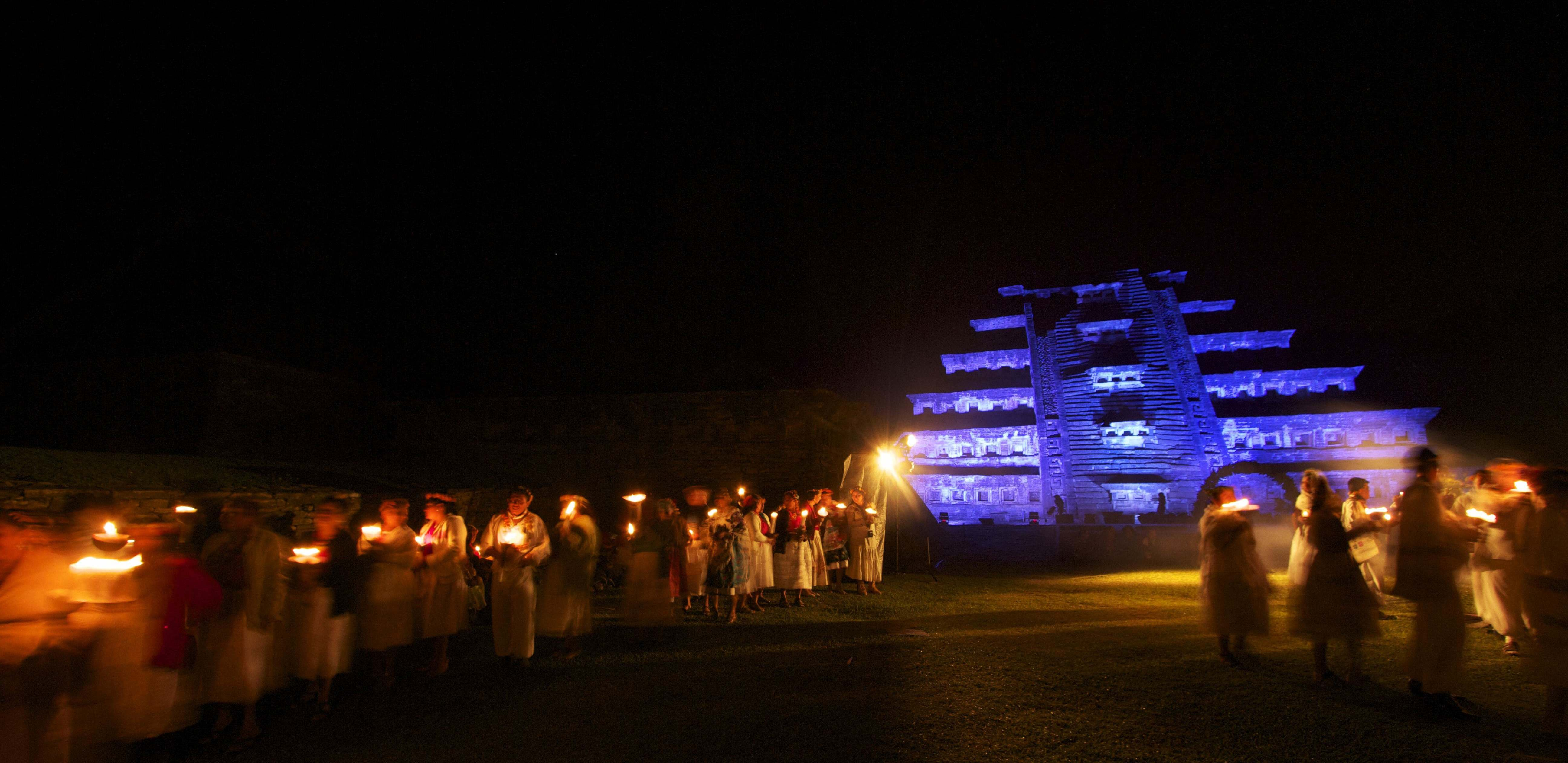 Totonacs perform a ritual at the Pyramid of the Niches, El Tajín. (Photo by Frederick Bernas)