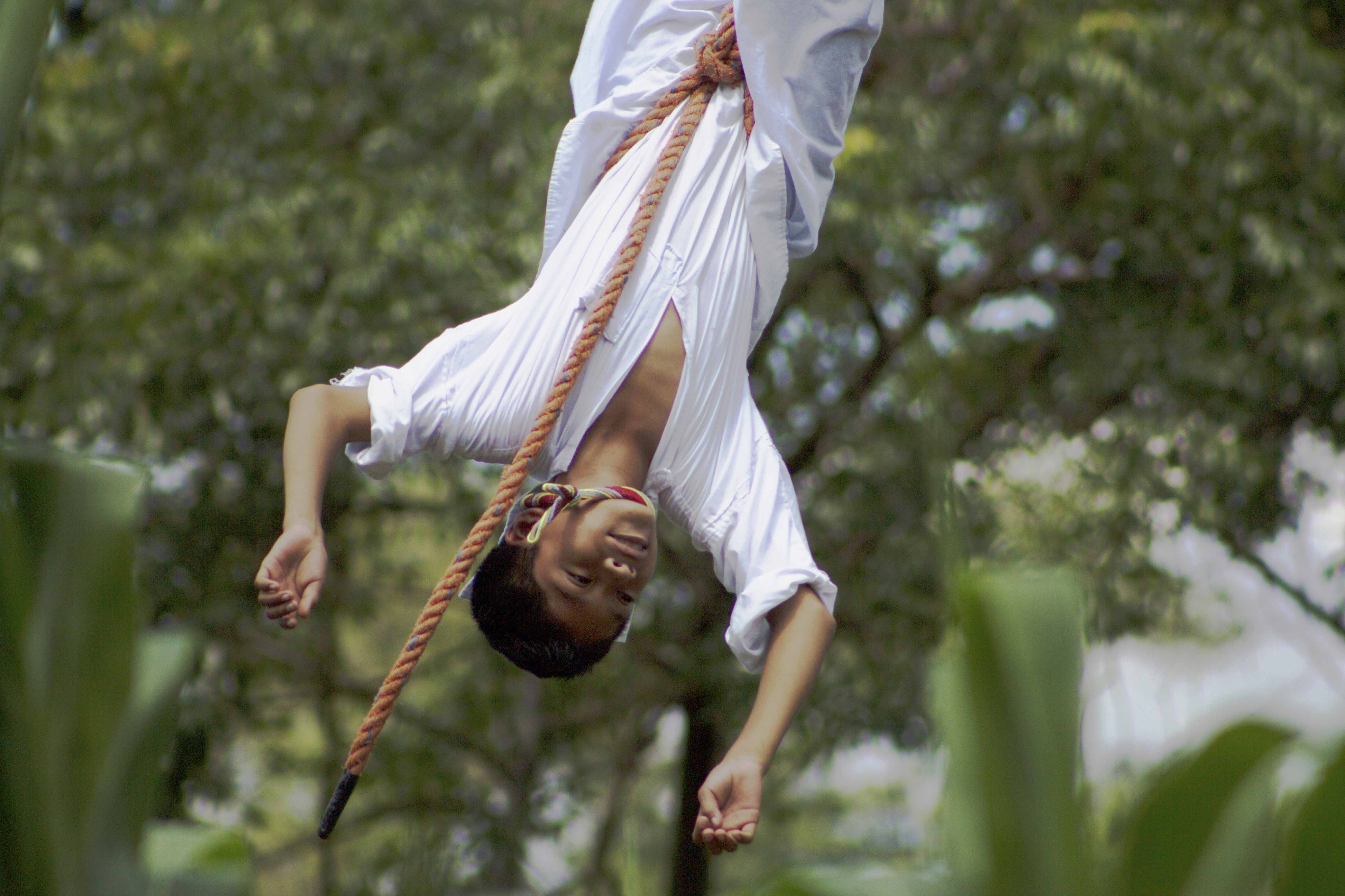 A young volador practices at his flying school. (Photo by Amado Treviño)
