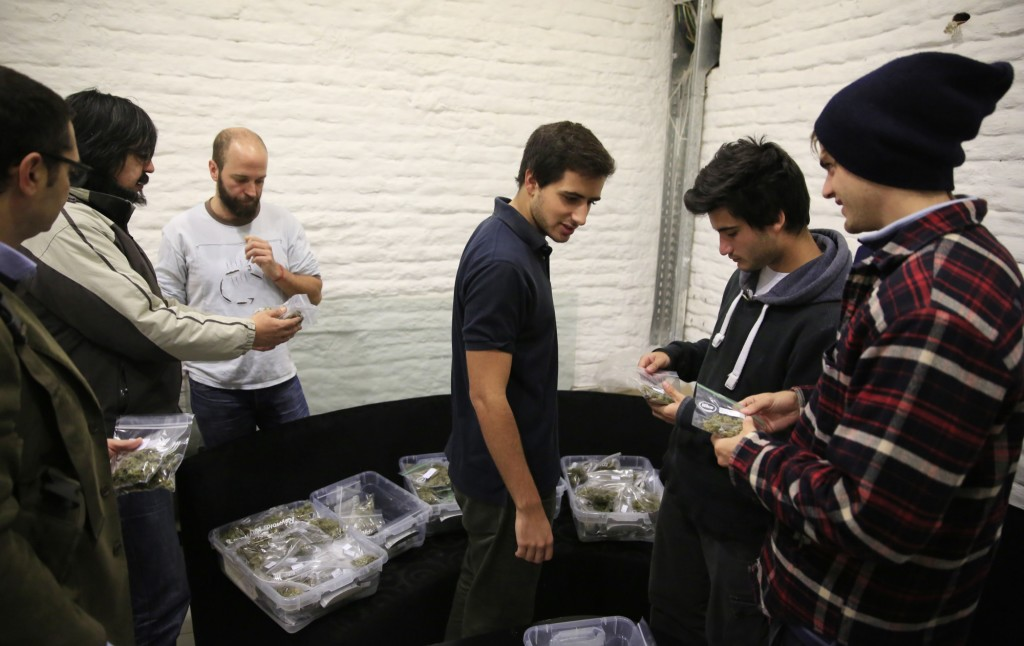 Members of the 420 Cannabis Club collect their monthly allowance. (Photo by Frederick Bernas)