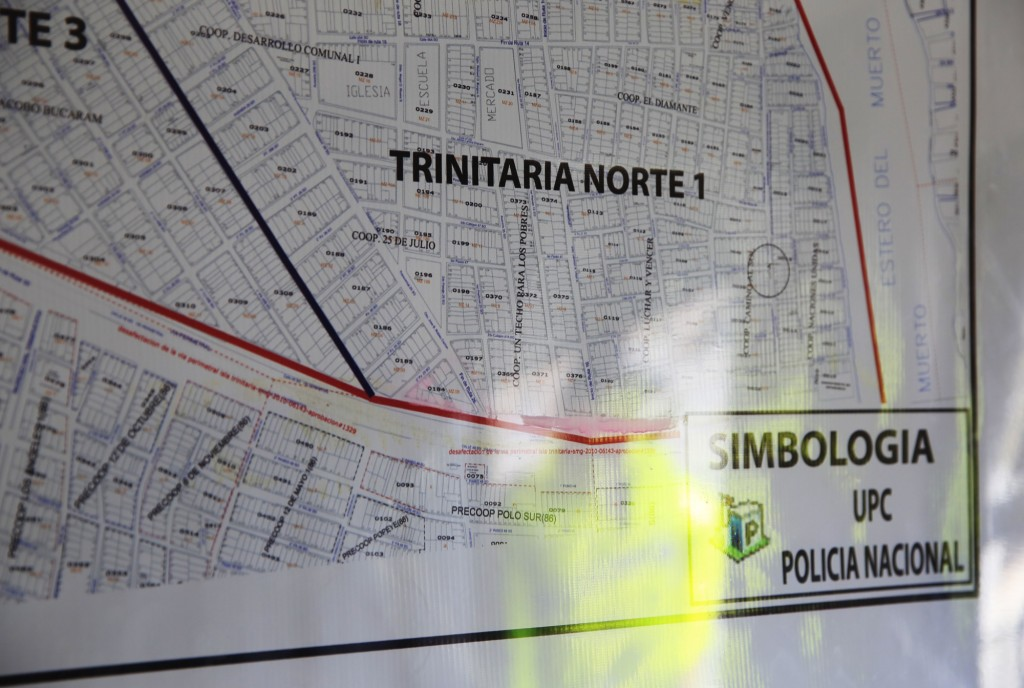 "A police map of Isla Trinitaria, which is divided into areas known as ""co-operatives."" [Photo: Frederick Bernas]"