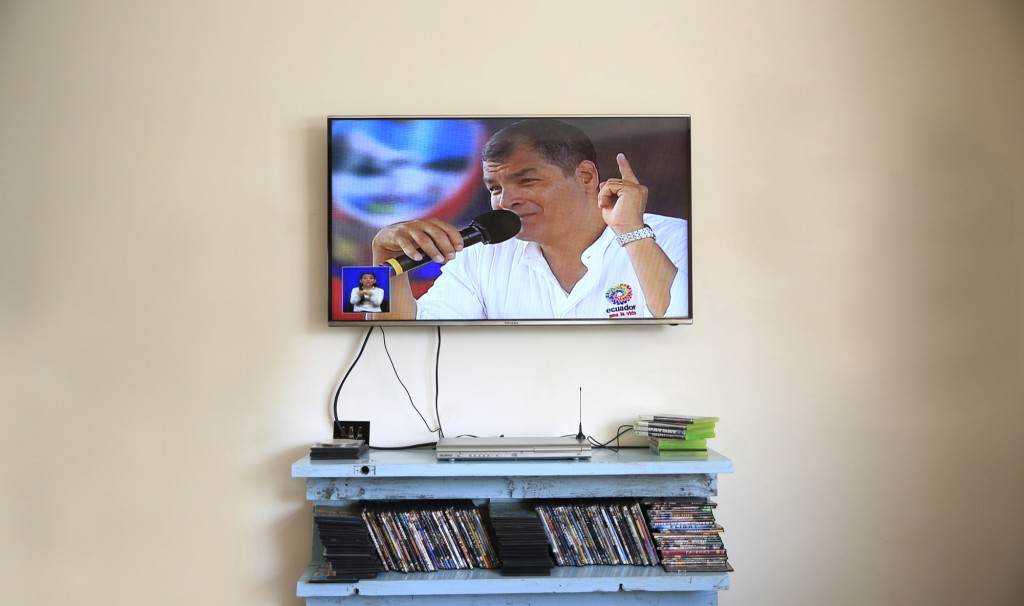 President Correa's weekly TV shows regularly run between 3-4 hours. [Photo: Frederick Bernas]