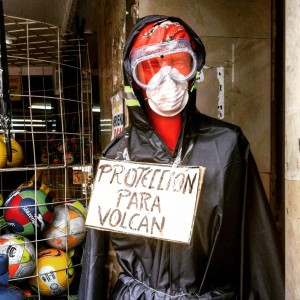 A volcano protection suit on display at a Quito general store. [Photo: Frederick Bernas]