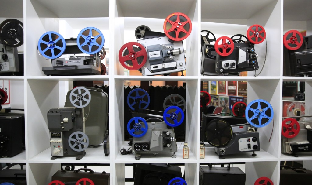 The projector collection includes models by Kodak, Bell&Howell, Ansco, Yashica, Copal and others. (Photo: Frederick Bernas)