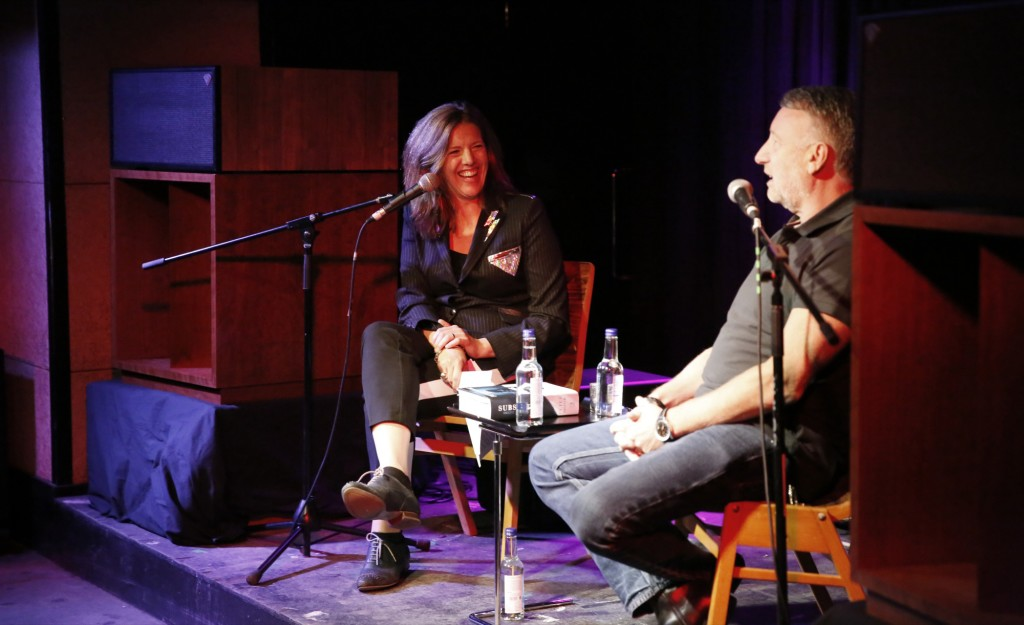 The D.J. Colleen Murphy interviewing Peter Hook, former bassist with New Order, before a listening session at the Miranda bar in East London. (Photo: Frederick Bernas)